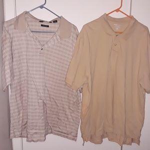 Tan Polo 2pc Lot Shirts PGA Tour & Basic Editions